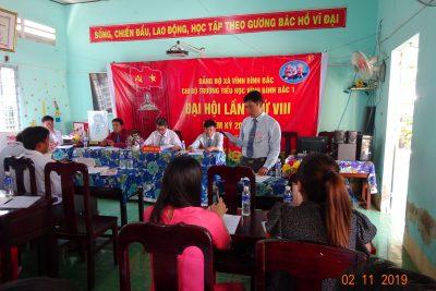Đại hội Chi bộ trường Tiểu học Vĩnh Bình bắc 1 nhiệm kỳ 2020-2022